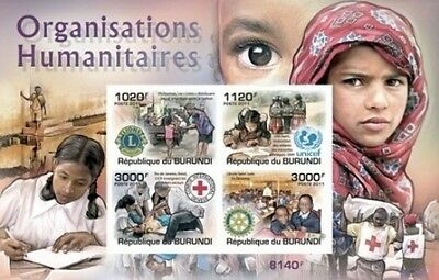 Deluxe Imperf Burundi 2011 Red Cross Rotary Lions Unicef S/s Mnh Rare  #f
