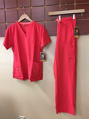 NEW Carhartt Hibiscus Solid Scrubs Set With Small Top & Small Tall Pants NWT
