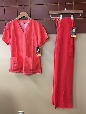NEW Carhartt Hibiscus Print Scrubs Set With XS Top & XS Tall Pants NWT