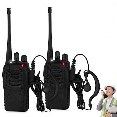 Walkie Talkie UHF 400-470MHZ Long Range 2-Way Radio 5W with US Charger+Earpiece