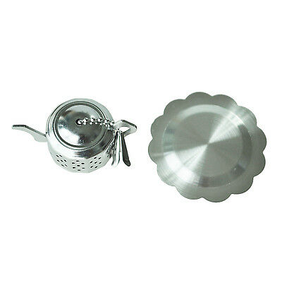 Teapot-Shape Stainless Steel Tea Infuser Strainer w/ Tray J5G3