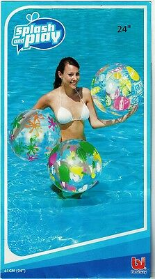"""Kids & Adults Bright Inflatable Beach Ball 20"""" & 24"""""""