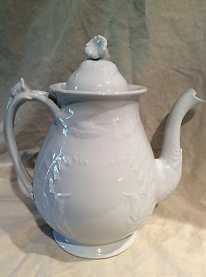 Antique White Ironstone Teapot With Bellflowers Fenton Pattern By Edwards