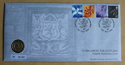 A Parliament For Scotland 1999 Royal Mint Cover + 1999 Scotland £1 Lion Coin