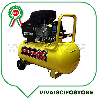 Compressore 50 Lt Olio Italy 8 Bar 2 Hp 2 Manometri 2 Connettori 170L/m
