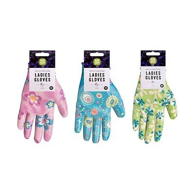 Ladies Womens Gardening Garden Gloves Latex Covered Floral Pink Blue Green DIY