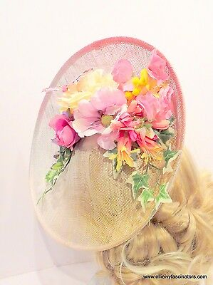 Large fascinator hat headband for weddings and races multi colour. one size.