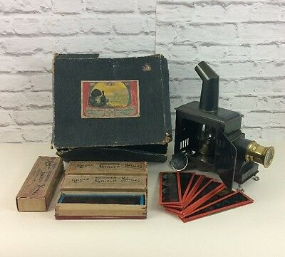Antique Boxed German GBN Magic Lantern With Large Selection Of Slides.