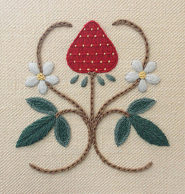 """Crewel Work Embroidery Kit """"A STRAWBERRY FAIR"""" By Melbury Hill"""