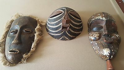 3 authentic vintage african mask