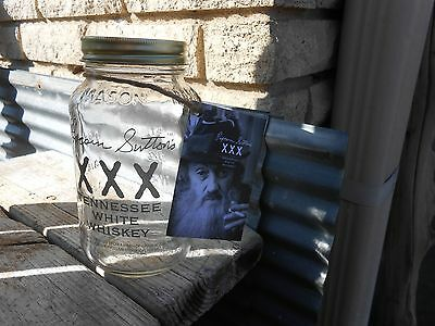 Popcorn Sutton  Mason Jar and Booklet Tennessee White Whiskey EMPTY moonshiners!