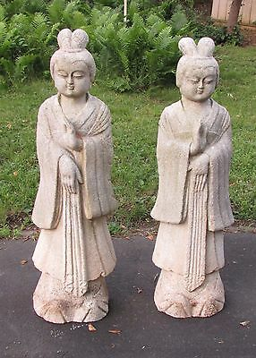 Pair Old or Antique Large Chinese Carved Stone Guanyin Statues
