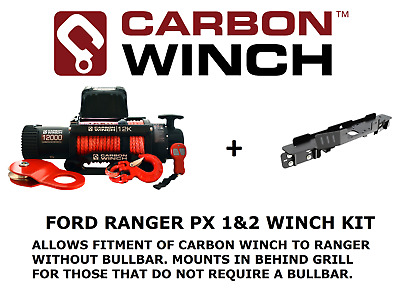 Carbon 12K 12000lb Electric winch with Ford Ranger PX PX2 Winch Cradle in bumper