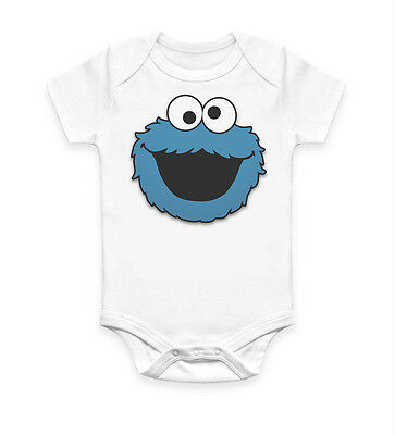 Funny Cookie Monster Baby Grow Bodysuit Baby Suit Vest Ideal Gift Unisex (1933)