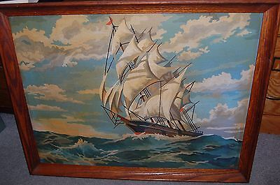 Vintage Paint By Number Clipper Ship Sailing 1968 Framed