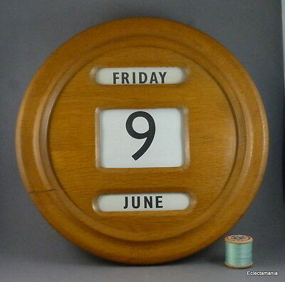Large Vintage Wooden Perpetual Wall Calendar - Mid Century Design C1940s/50s