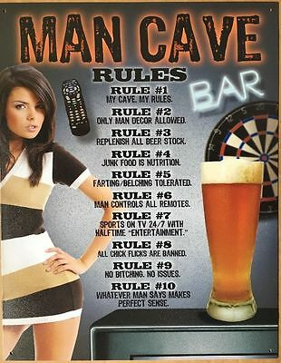 Vintage Style Metal Sign Man Cave Rules Garage Bar Pub Home Studio Wall Decor