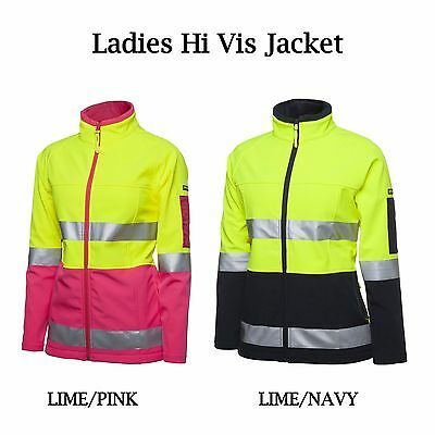 Ladies Hi Vis Day and Night Soft Shell Jacket 3M Tape womens Jacket PINK