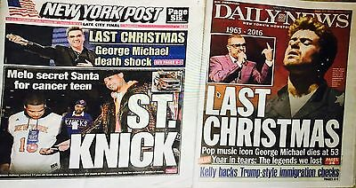George Michael Dead Wham  Daily News Ny Post Newspaper Tribute 12/26/16 Trump