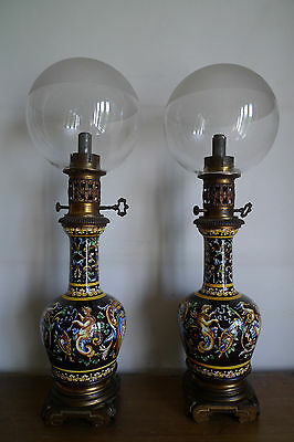 Ancienne Paire Lampe A Huile Moderateur Faience Gien Napoleon Iii Xix Siecle