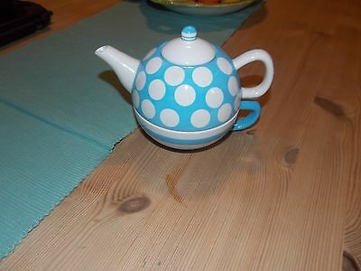 Price Kensington.Tea For One Pot & Cup Set, Blue & White Polka Dots & Stripes