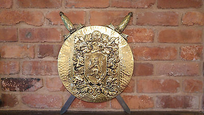 Large Vintage Brass Wall Hanging Plaque w Crossed Swords - Man Cave, study etc