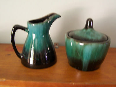Vintage Blue Mountain Pottery Cream And Sugar With Original Label