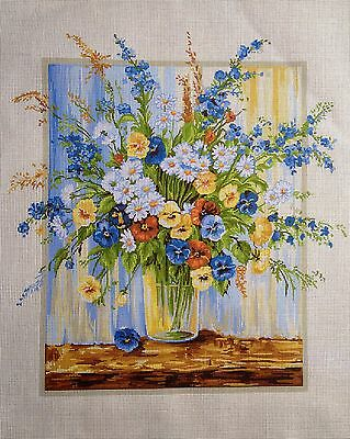 "Gobelin Tapestry Needlepoint Kit ""Flowers""  printed canvas 490"