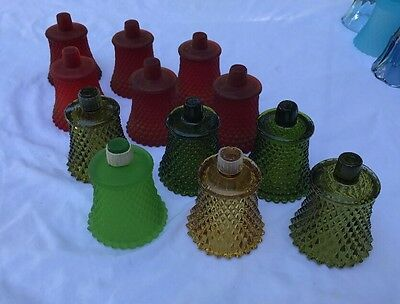 HUGE LOT of 12 Red Green GLASS VOTIVE CUPS SCONCE CANDLE HOLDERS Christmas Decor