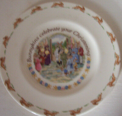 "1991 Royal Doulton Bunnykins Celebrate Your Christening Fine Bone China 8"" Plate"