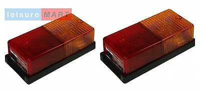 A pair of rectangular rear trailer lights lamps four function LMX1995