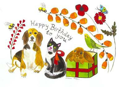 "Happy Birthday card, Dog, cat, Rabbit among flowers  5"" x 7"" By Casimira Mostyn"
