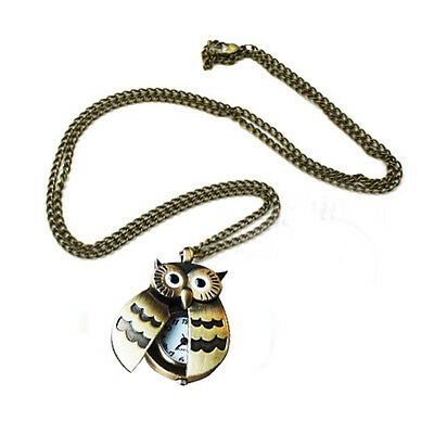 Flappy Wings Owl Locket Watch Necklace BF