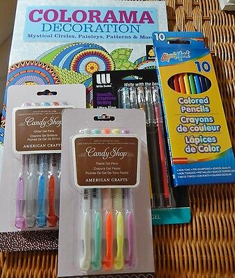 Lot of Adult Coloring Supplies Gel Pens Colored Pencils Coloring Book ALL NEW