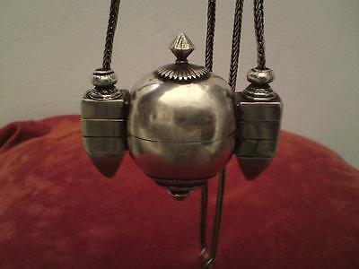 Antique South India Shiva Lingam solid silver casket with long chain 144 grams