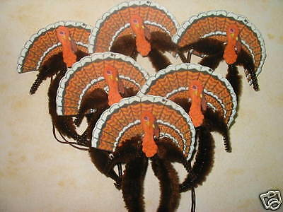 Primitive Vintage Style Thanksgiving Turkey Ornaments Chenille Feather Tree
