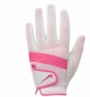 "LADIES OFFICIAL ""NIKE"" SUMMERLITE WHITE/PINK LEFT HAND GOLF GLOVE (Large 22cm)"