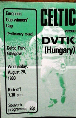 Celtic V Dvtk 20/8/1980 European Cup Winners Cup