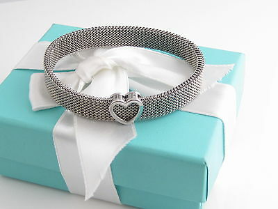 Tiffany & Co Stretchable Heart Mesh Bracelet Bangle Box Included