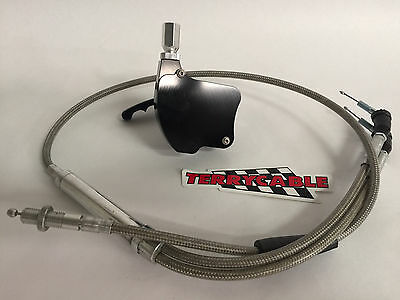 Banshee Large Big Carb Steel Braided Terrycable Throttle Cable Red Billet Thumb