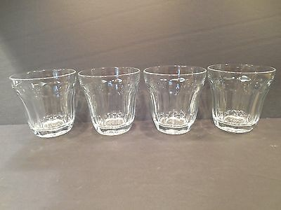 "Four (4) PALAKS - 10 oz - OLD FASHIONED ROCKS GLASSES - CLEAR - 3 5/8"" - PANELED"