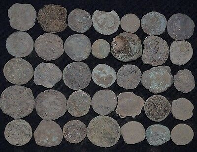 Lot of 35 Ancient Roman Bronze coins. Roman Imperial, circa 235-476 AD Uncleaned