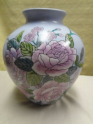 """Vintage Hand Cut & Painted Floral Pink Rose Pottery 9"""" Tall Chinese Vase"""