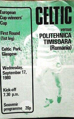 Celtic V Politechnica 17/9/1980 European Cup Winners Cup