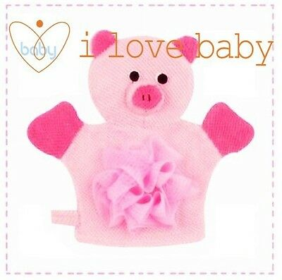 Baby Bathroom Bath Fun Toy Hand Puppet Shower Wash Mitt Pink