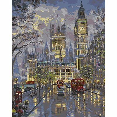 Diy Oil Painting by Numbers Paint by Number Kits Street Evening Scene 16*20 inc