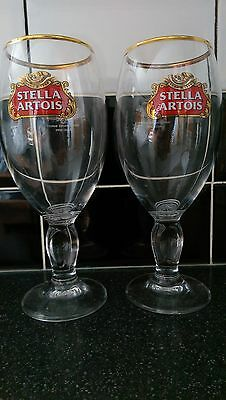 Stella Artois Pint Glasses (X2) - New / Nucleates / Ce Stamped