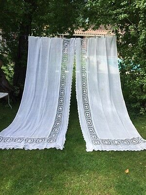 Divine PAIR Antique Vtg French CIEL DE LIT CANOPY LACE DRAPES CURTAINS  x