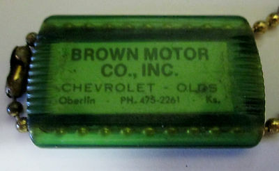 1960's Brown Motor Co Chevrolet Olds Oberlin Kansas Keyring/keychain