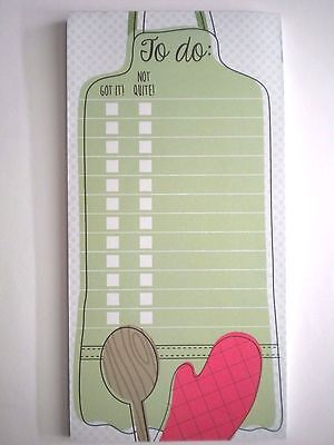 """""""APRON, WOODEN SPOON, OVEN MITT"""" 4"""" x 8"""" TO DO LIST MAGNETIC NOTEPAD ~ 60 Sheets"""